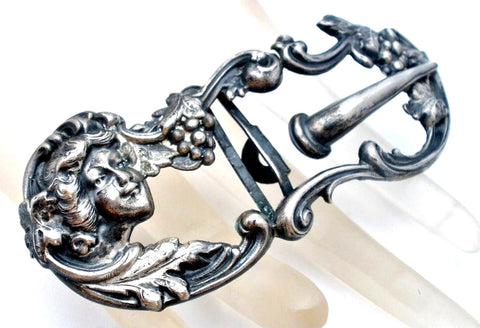Art Nouveau Lady Buckle Sterling Silver Sash Ornament Wedding