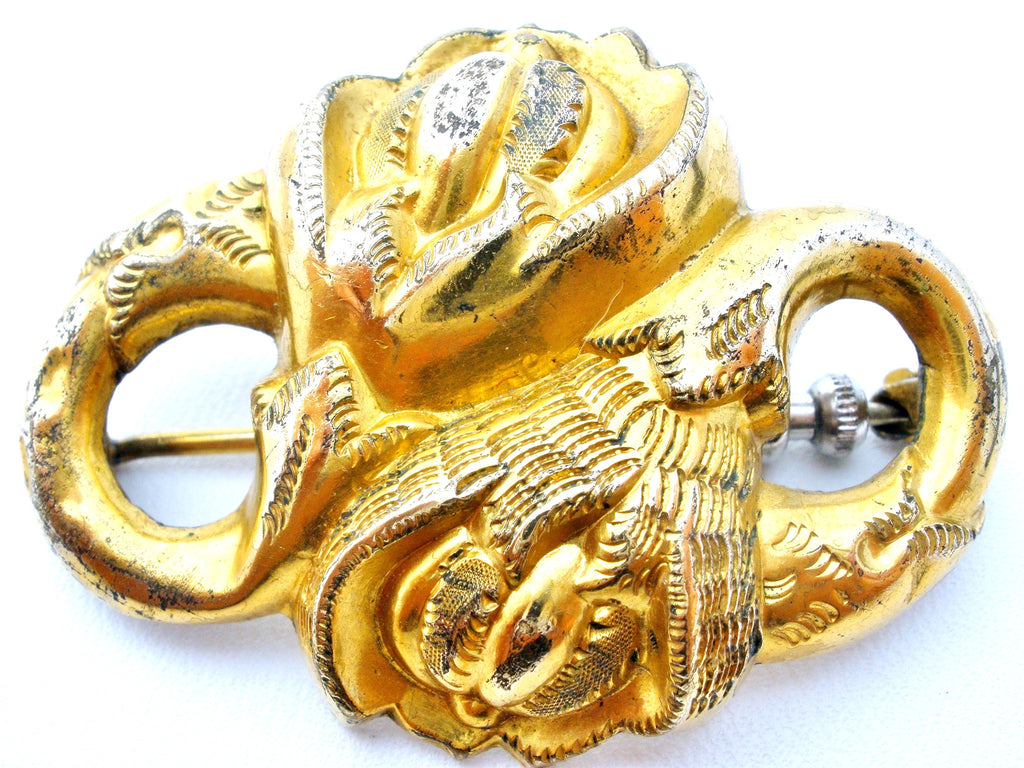 Victorian Gold Plated Floral Brooch Antique Flower Pin - The Jewelry Lady's Store - 1