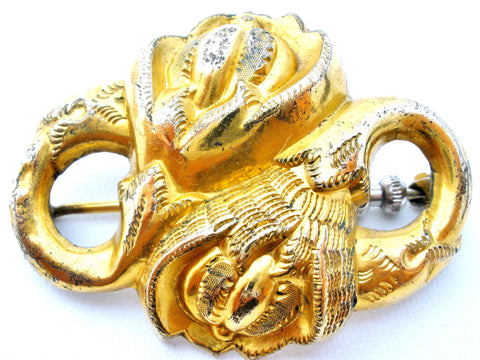 Victorian Gold Plated Floral Brooch Antique Flower Pin