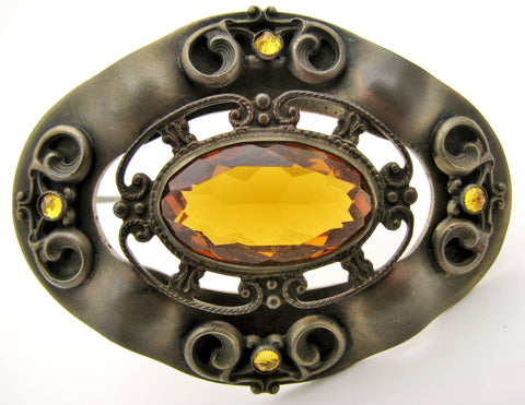 Antique Brass Citrine Brooch Pin