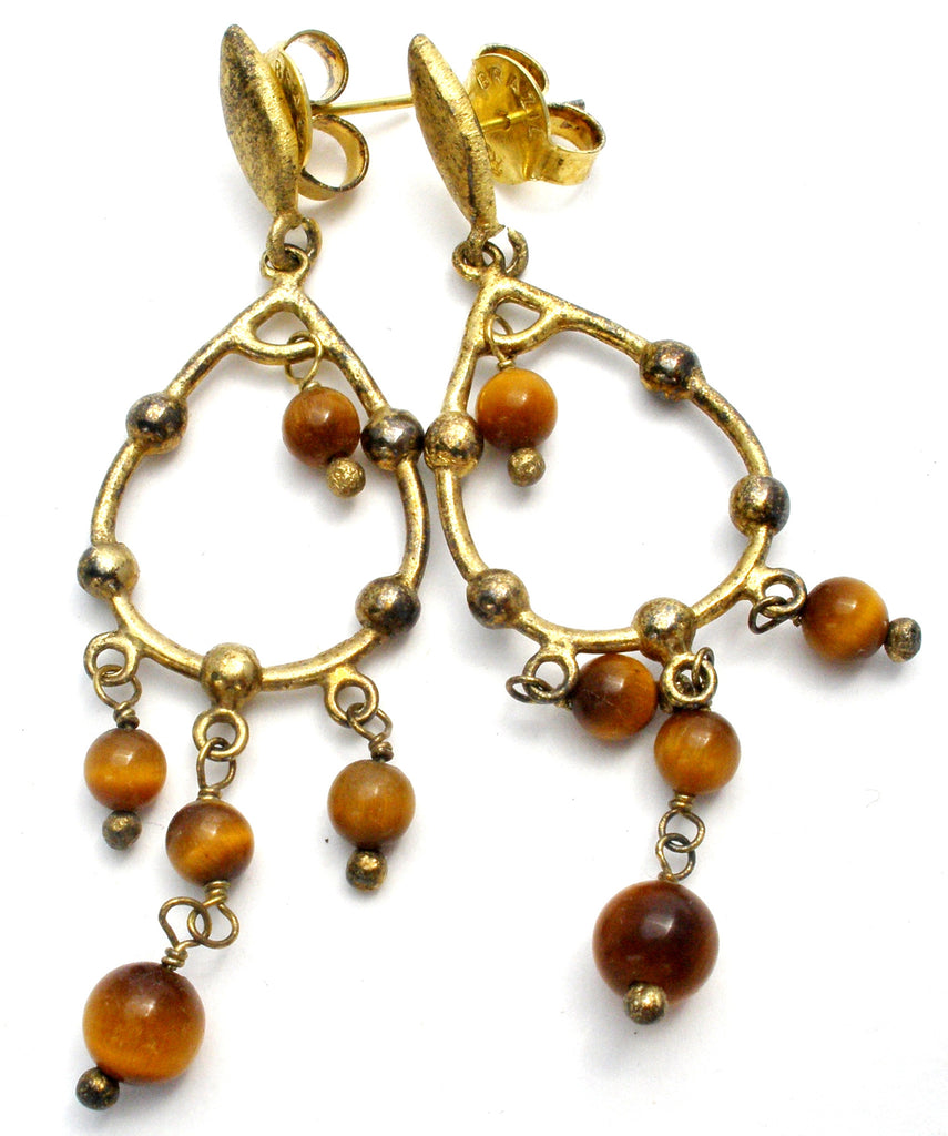 Antiqued Gold Tiger's Eye Chandelier Earrings - The Jewelry Lady's Store