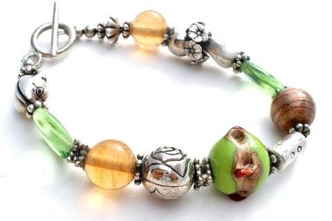 Art Glass Green & Silver Bead Bracelets