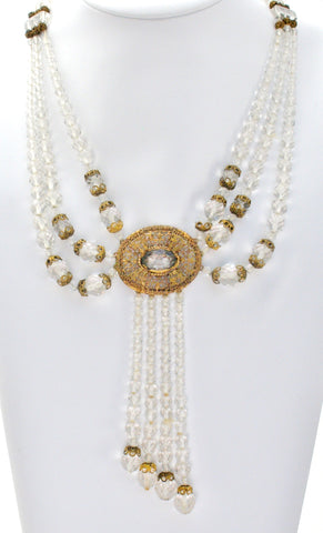 Art Deco Clear Crystal Bead Necklace
