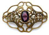 Art Nouveau Gilt Amethyst Brooch - The Jewelry Lady's Store