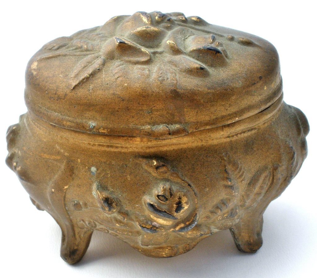 Art Nouveau Small Gold Jewelry Casket Box - The Jewelry Lady's Store