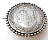 Austria 1893 Silver Corona Coin Brooch Antique - The Jewelry Lady's Store