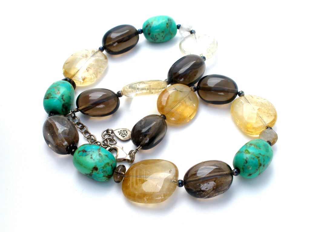 BARSE Turquoise & Smoky Quartz Bead Necklace - The Jewelry Lady's Store