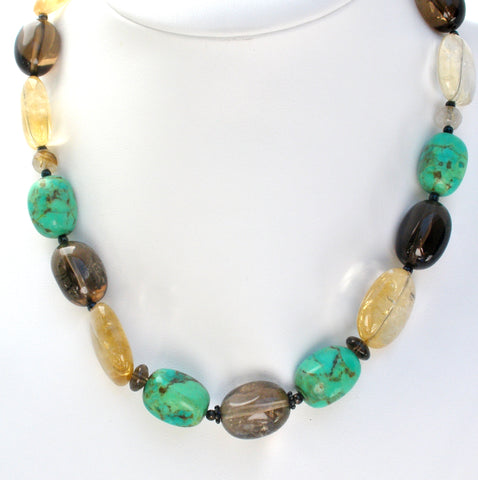 BARSE Turquoise & Smoky Quartz Bead Necklace