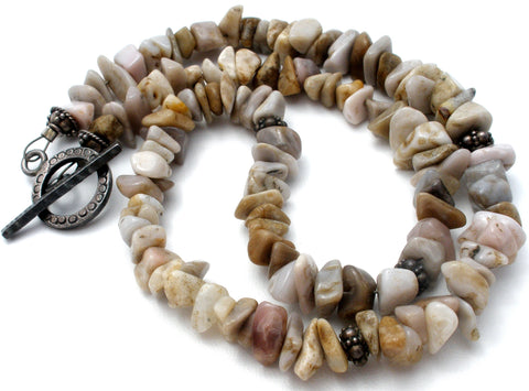 Beige Agate Nugget Gemstone Bead Necklace 16.5""