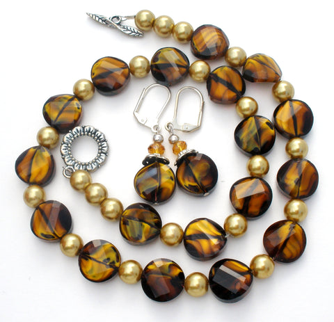 Black & Brown Art Glass Bead Necklace Set