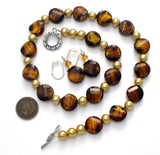 Black & Brown Art Glass Bead Necklace Set - The Jewelry Lady's Store
