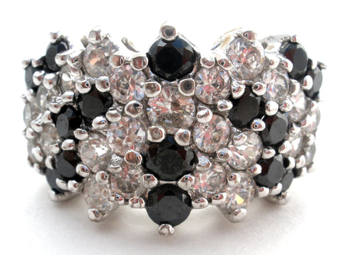 Black & Clear Cubic Zirconia Cocktail Ring Size 7