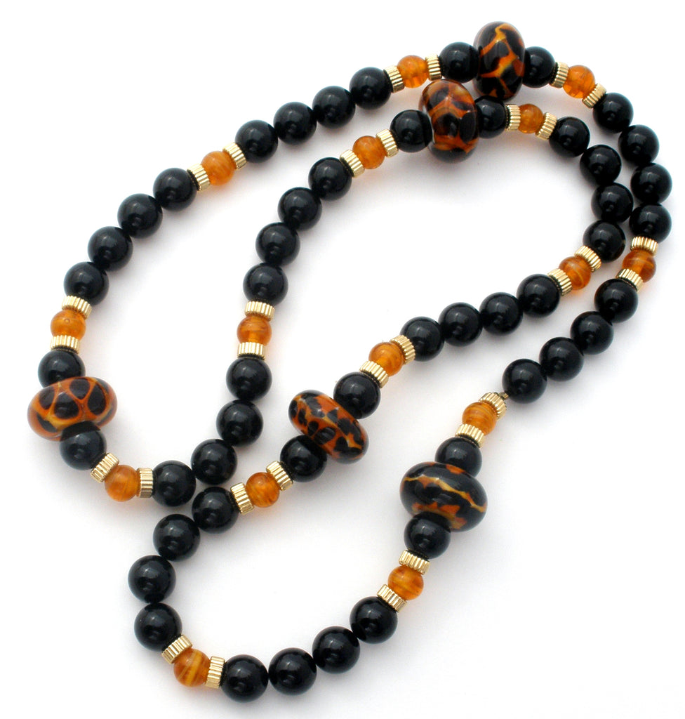 Black Onyx Bead Necklace with Amber Art Glass - The Jewelry Lady's Store