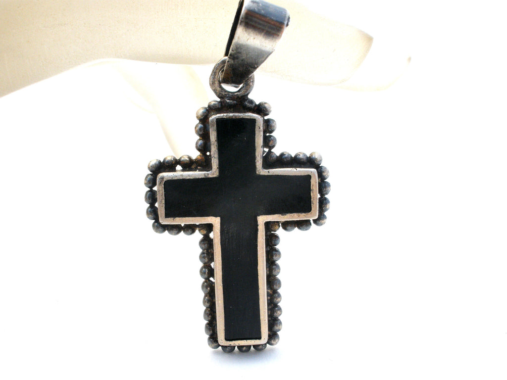 Black Enamel Cross Pendant Sterling Silver Vintage - The Jewelry Lady's Store