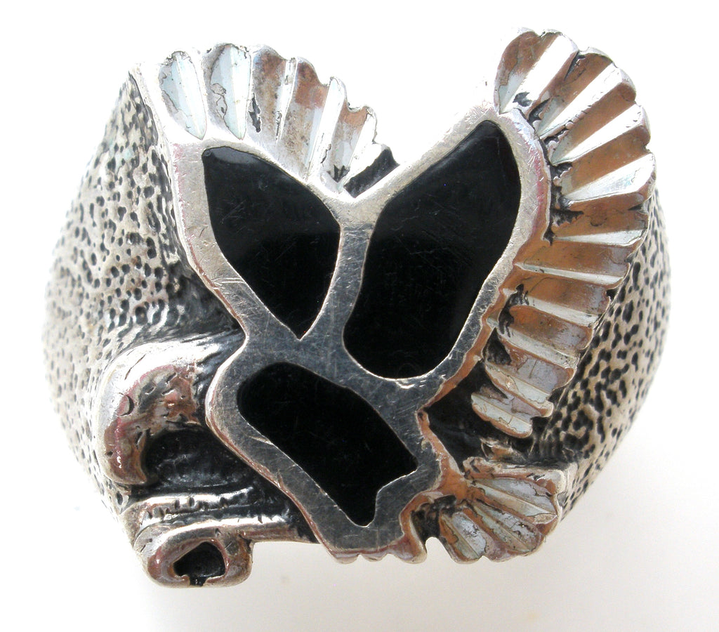 Black Onyx Eagle Ring Sterling Silver Size 10 - The Jewelry Lady's Store