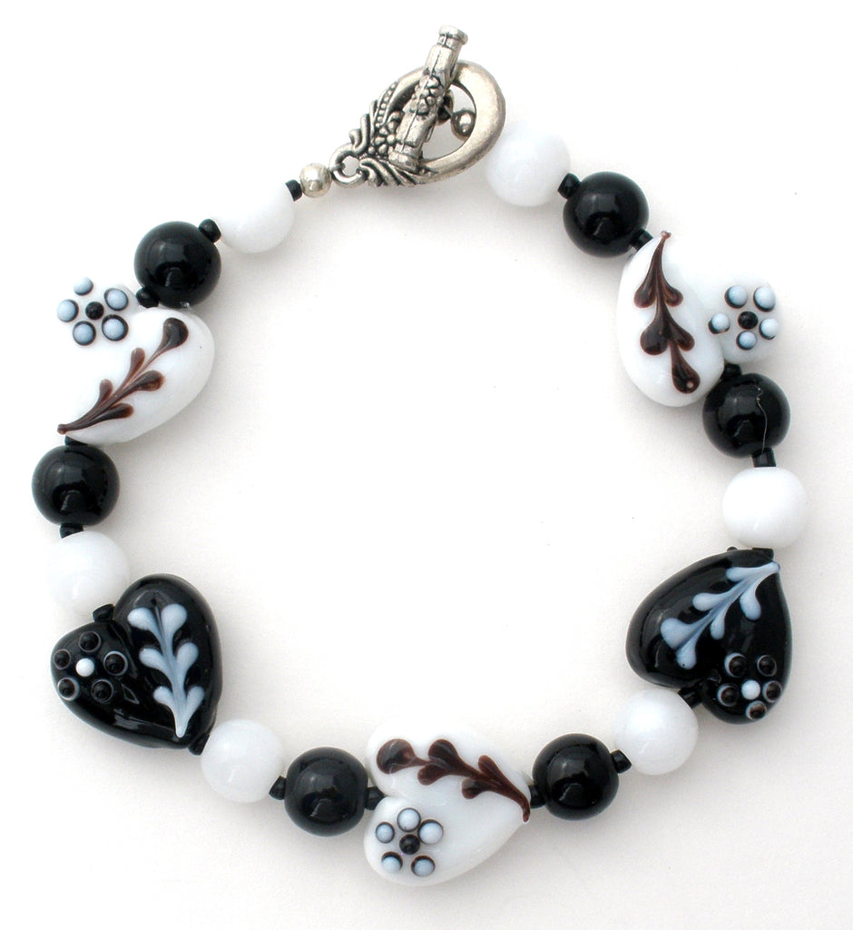Black & White Flower Lampwork Bead Bracelet - The Jewelry Lady's Store