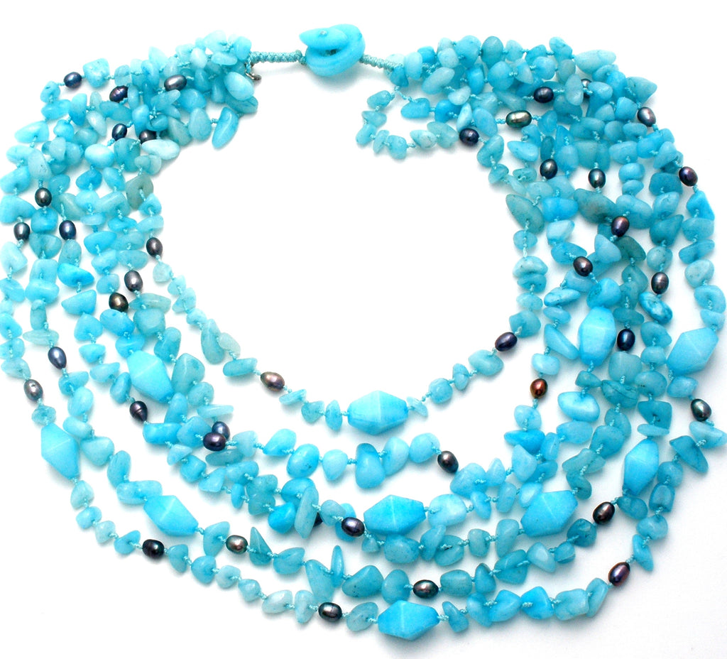 Blue Caribbean Quartz & Gray Pearl Necklace - The Jewelry Lady's Store