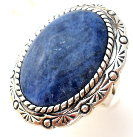 Blue Sodalite Gemstone Sterling Silver Ring Size 7