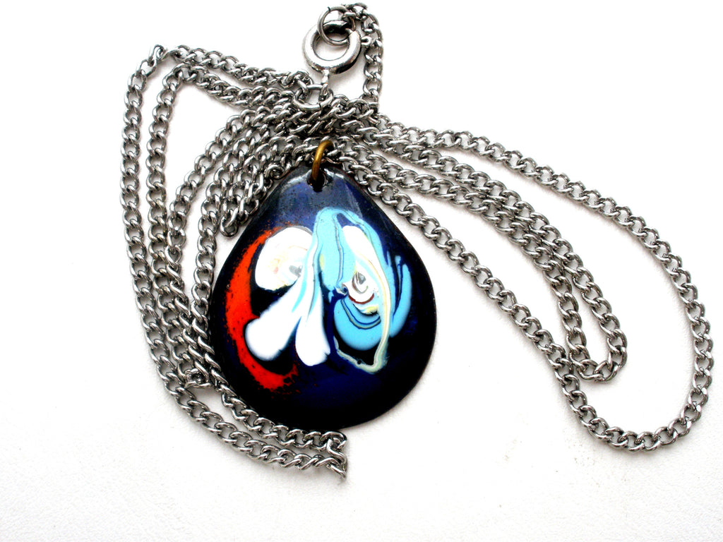 "Blue Enamel Pendant Necklace Vintage 18"" - The Jewelry Lady's Store"