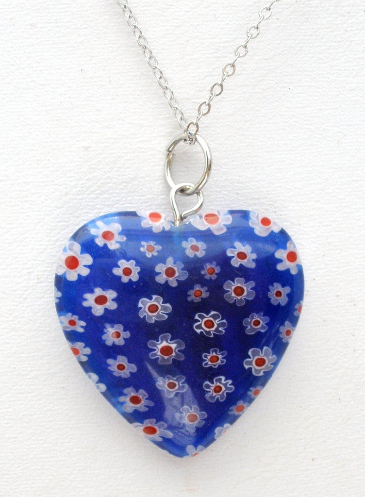 "Blue Flower Millefiori Heart Pendant Necklace 18"" - The Jewelry Lady's Store"