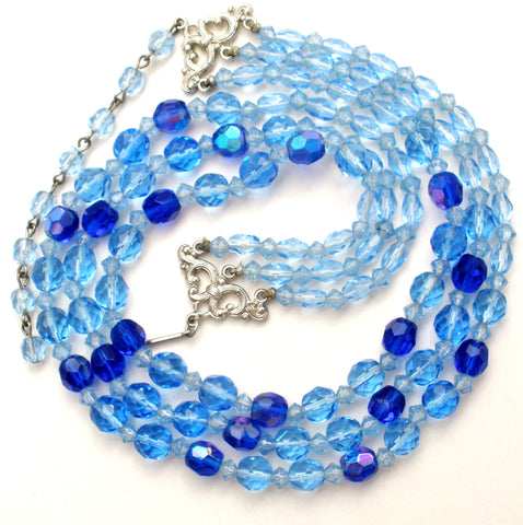 Blue Multi Strand Glass Bead Necklace Vintage