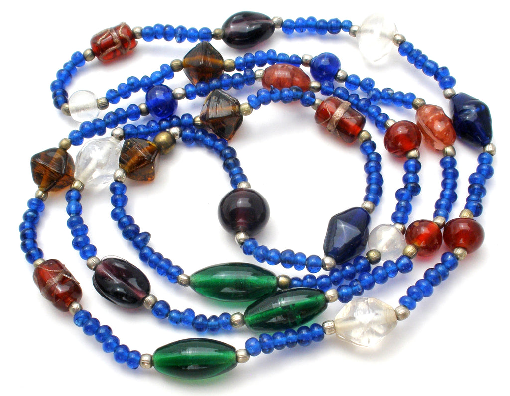 "Blue Murano Glass Bead Necklace 44"" - The Jewelry Lady's Store"