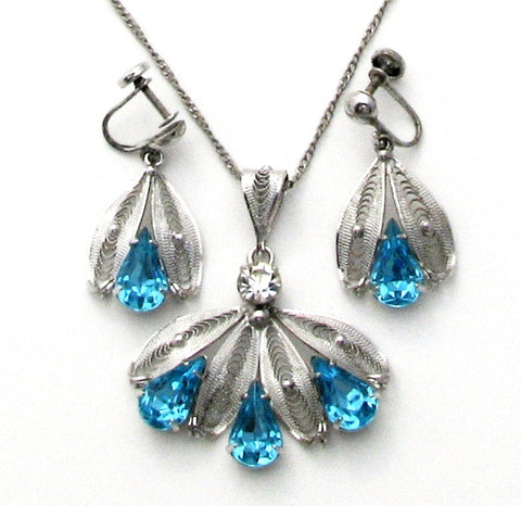 Blue Rhinestone Lavalier Silver Necklace Set