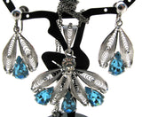 Blue Rhinestone Lavalier Silver Necklace Set - The Jewelry Lady's Store