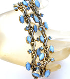 Blue Satin Glass Rhinestone Choker Necklace Vintage - The Jewelry Lady's Store