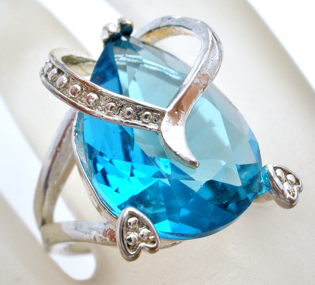 Blue Topaz CZ Heart Ring Sterling Silver - The Jewelry Lady's Store
