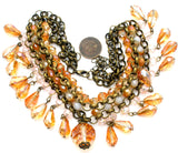 Brass Runway Bib Necklace with Crystals Beads - The Jewelry Lady's Store