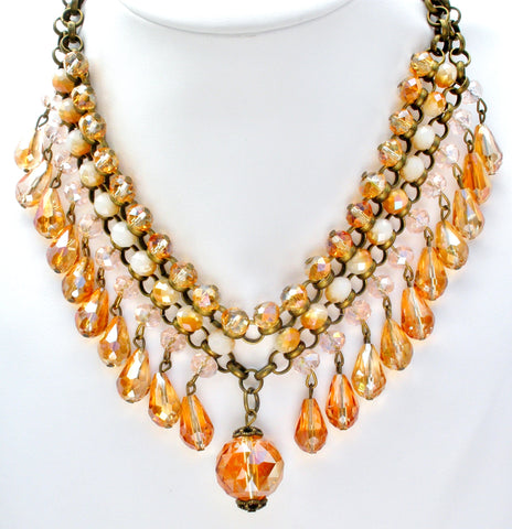 Brass Runway Bib Necklace with Crystals Beads