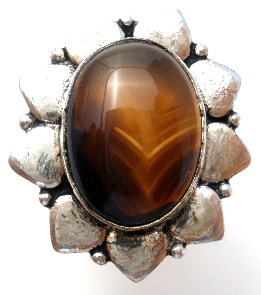 Brown Banded Agate 925 Ring Size 9 - The Jewelry Lady's Store