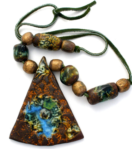 Brown Ceramic Enamel Bead Pendant Necklace