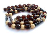 Brown Glass & Gold Bead Necklace Vintage - The Jewelry Lady's Store