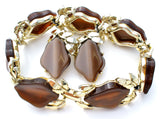 Brown Thermoset Leaf Bracelet & Earrings Vintage - The Jewelry Lady's Store