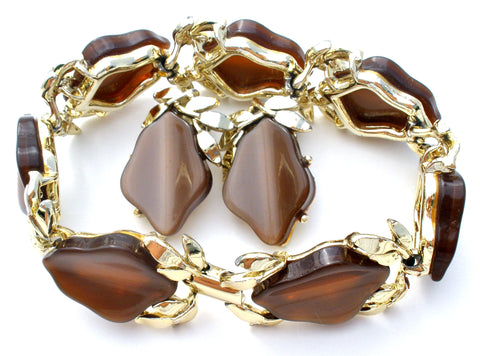 Brown Thermoset Leaf Bracelet & Earrings Vintage