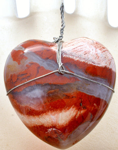 Brown & Gray Heart Agate Pendant