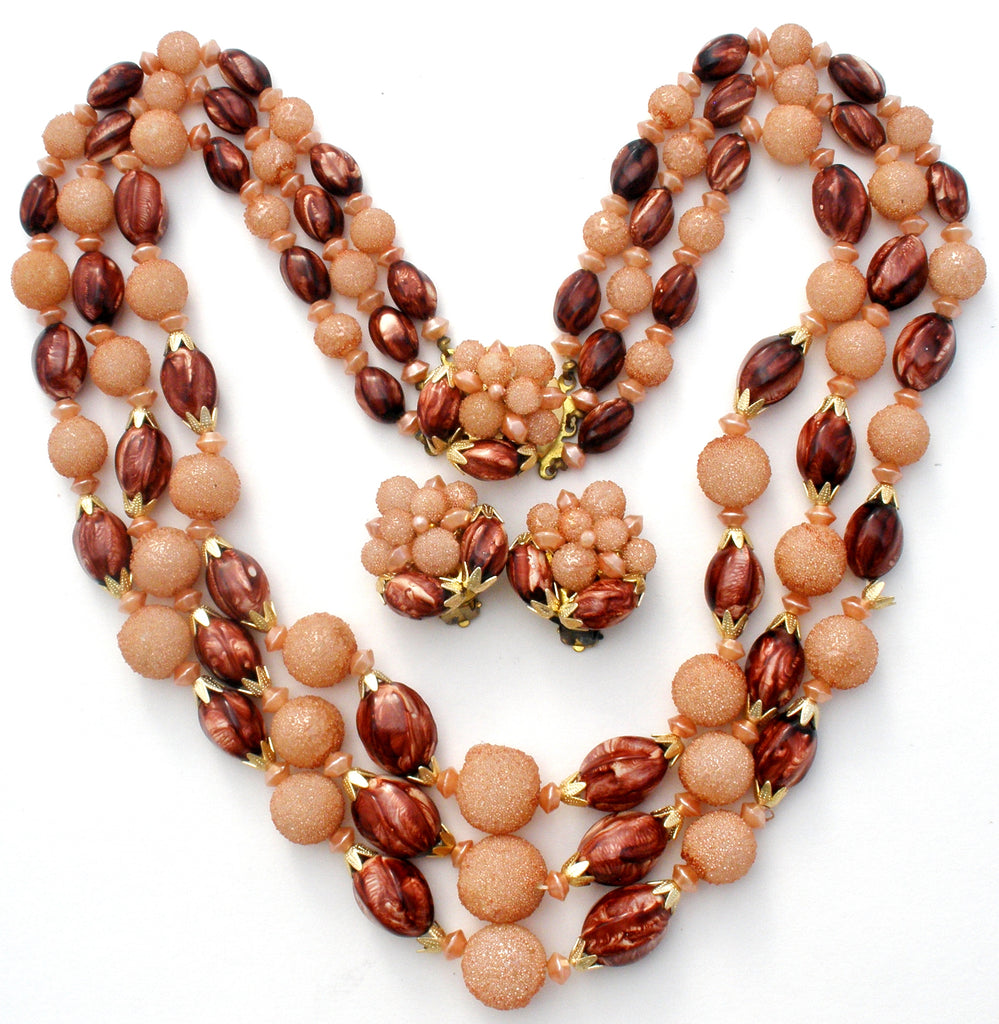 Brown & Pink Vintage Bead Necklace Set - The Jewelry Lady's Store