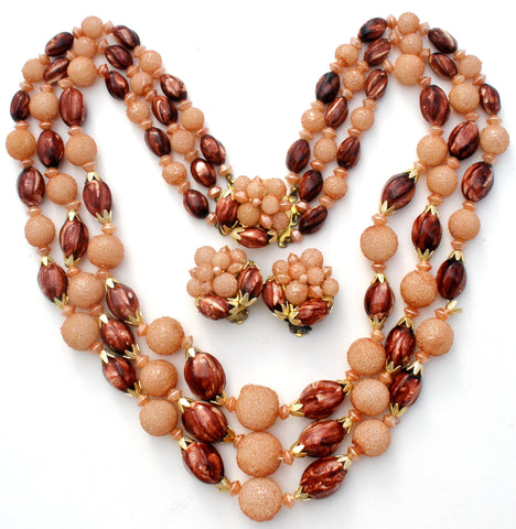 Brown & Pink Vintage Bead Necklace Set
