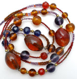 "Brown Purple Blue & Red Glass Bead Necklace 40"" - The Jewelry Lady's Store"