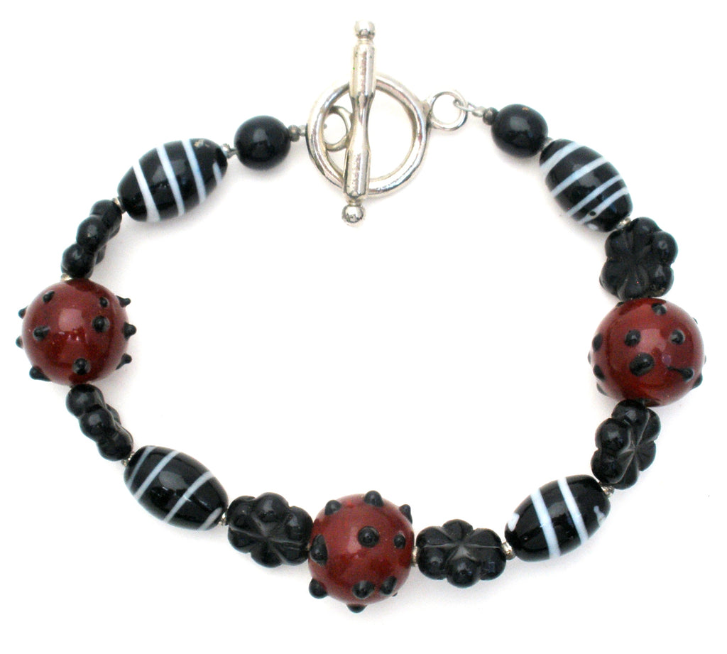 "Brown and Black Lampwork Art Glass Bead Bracelet 8.75"" - The Jewelry Lady's Store"