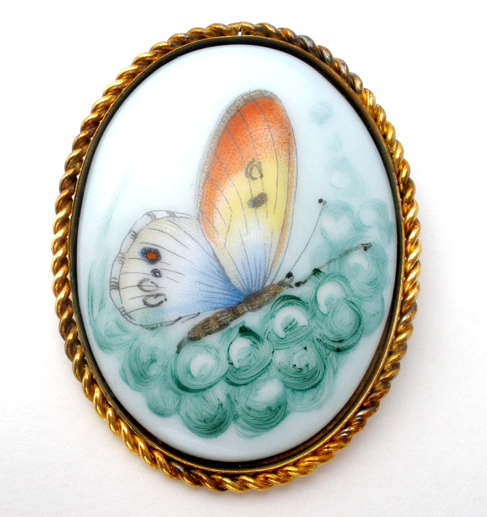 Butterfly Pendant Brooch 12K GF Sheila Vintage - The Jewelry Lady's Store