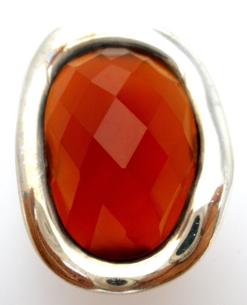 Carnelian Statement Ring Sterling Silver Size 5.5 - The Jewelry Lady's Store