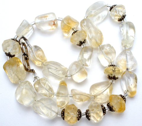 Champagne & Clear Crystal Quartz Bead Necklace 15""
