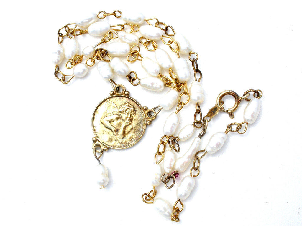 Cherub Coin Freshwater Pearl Necklace Vermeil 925 - The Jewelry Lady's Store