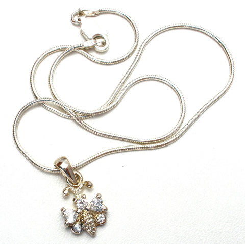 "Child's Sterling Silver 12"" Necklace with Bee Pendant"