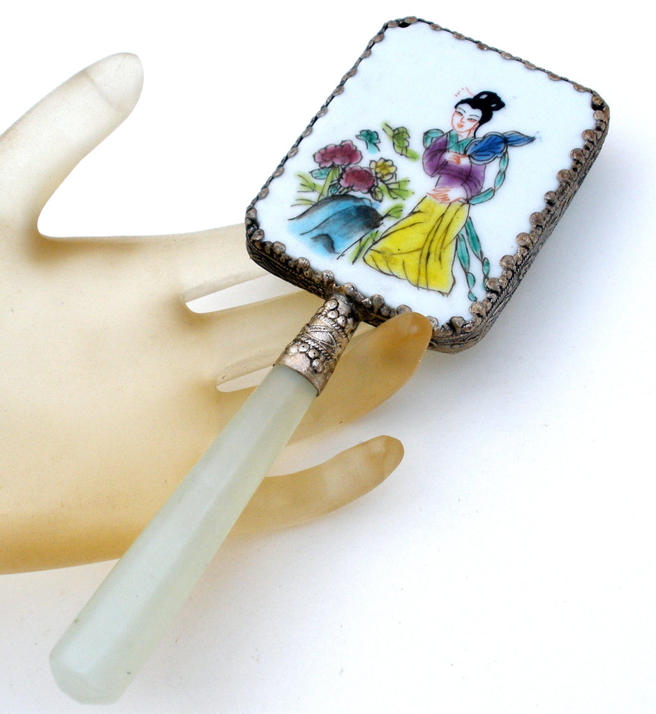 Chinese Porcelain Jade Silver Geisha Girl Hand Mirror - The Jewelry Lady's Store