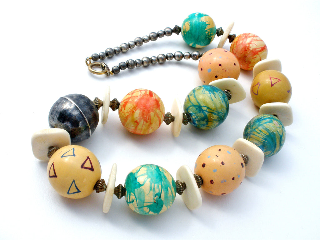 "Chunky Bead Necklace Vintage Hand Painted 22"" - The Jewelry Lady's Store"