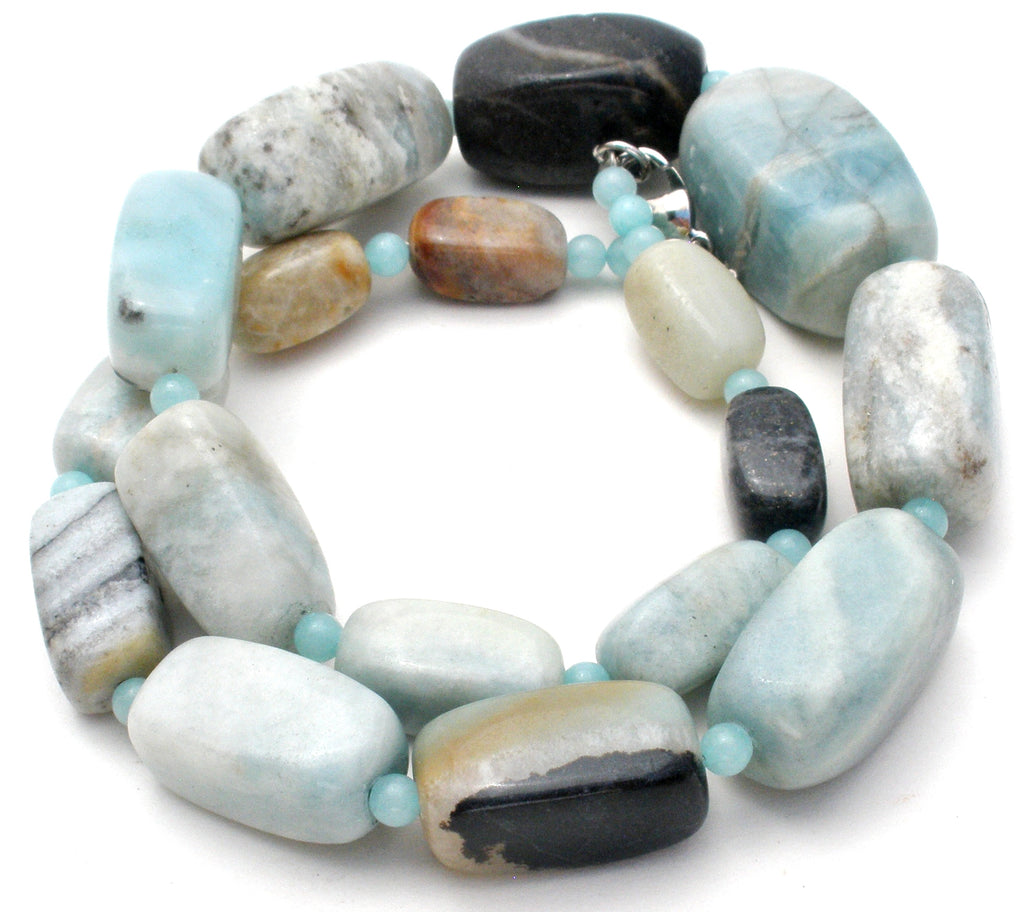 "Chunky Blue Lace Agate Bead Necklace 19"" - The Jewelry Lady's Store"